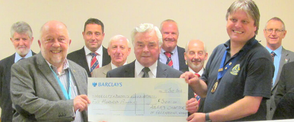 ABBEY CHAPTER No 2529 CONTRIBUTE ANOTHER £500 TO THE WHALLEY FLOOD APPEAL MAKING IT £18,500 IN TOTAL