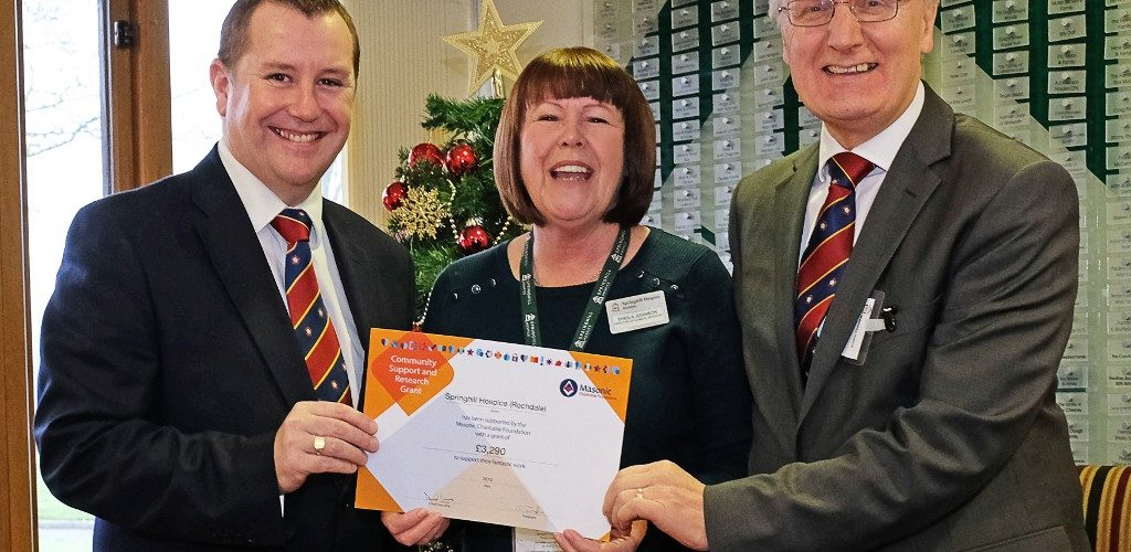 Freemasons Cheque for Springhill Hospice
