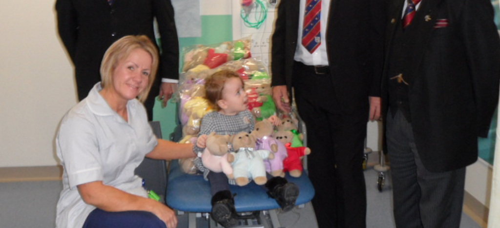 Burnley and Pendle Freemasons deliver more Teddies for Loving Care [TLC} bears  to Burnley General Hospital
