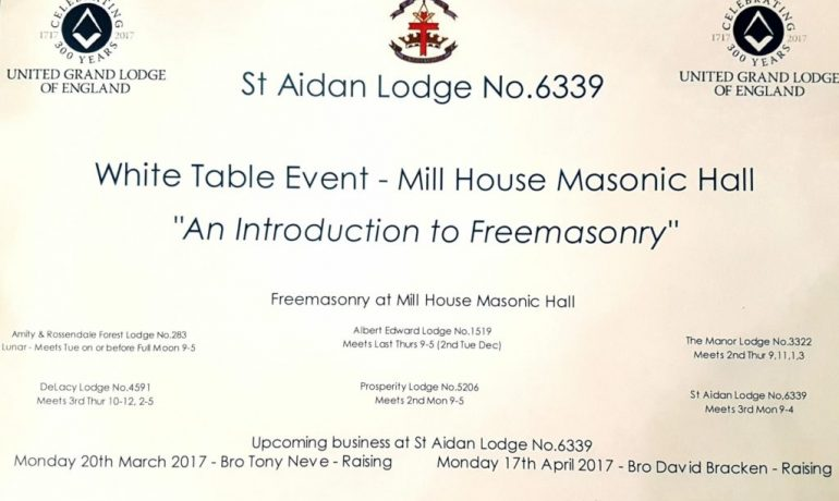 St Aidan Lodge No. 6339 host White Table Event