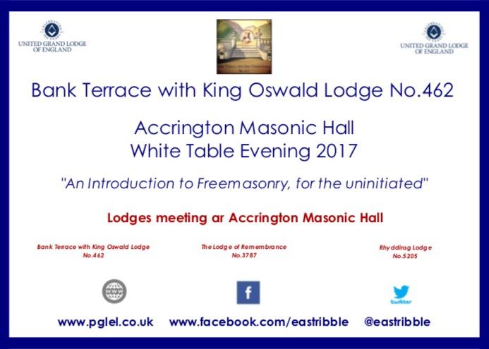 Accrington Masonic Hall White Table Evening