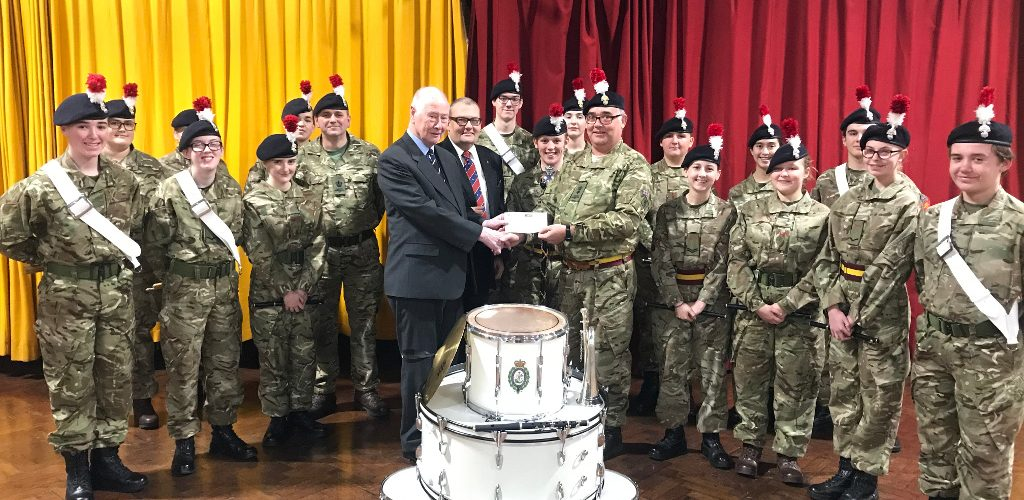 Cheque Presentation to Corps of Drums Detachment of Manchester Army Cadets