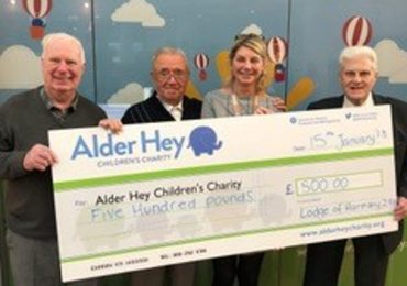 The Lodge of Harmony No.298 Visit Alder Hey Children's Hospital to Present a cheque for £500