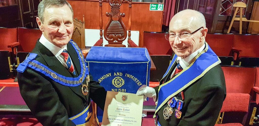 WBro Colin Talbot PProvJGD celebrates 50 years in Freemasonry