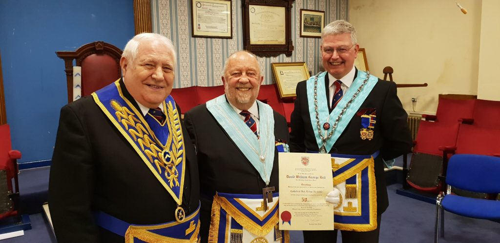 Celebrating 50 years in Freemasonry of WBro DWG Bell PProvGSwdB