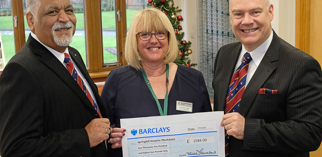Springhill Hospice receive a cheque from the Freemasons Charitable Foundation
