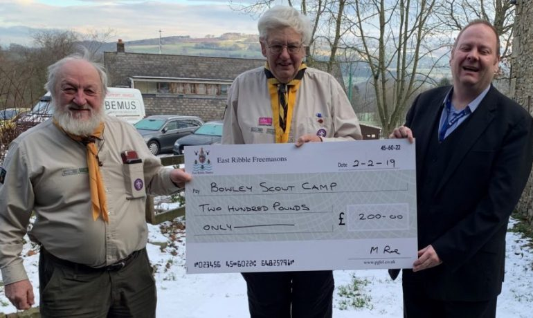 Cheque Presentation at Bowley Scout Camp