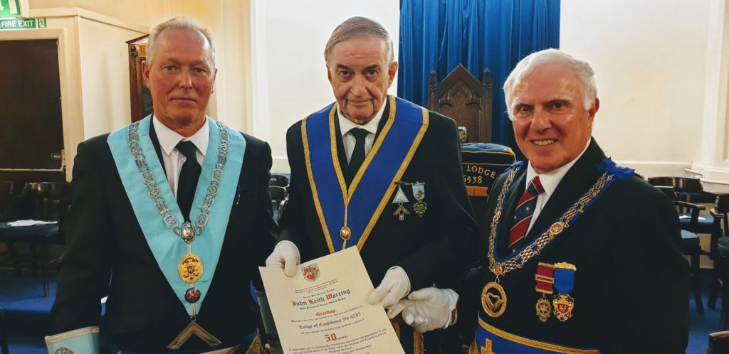 Keith Wareing Celebrates 50 years in Freemasonry at Keep Lodge No. 6538