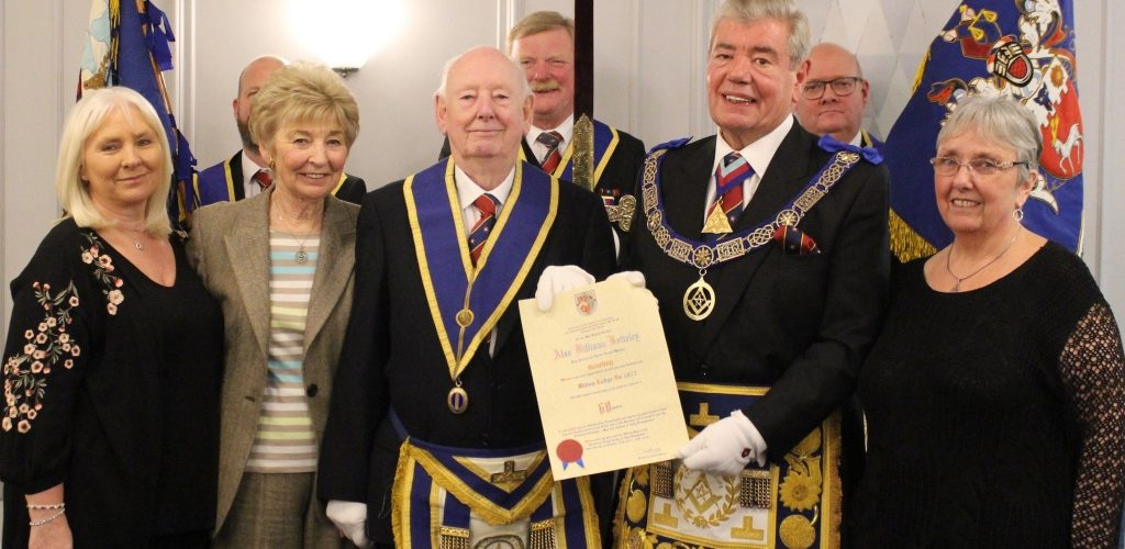 To Celebrate 60 Years in Freemasonry,  WBro Alan Williams Botteley PProvJGW