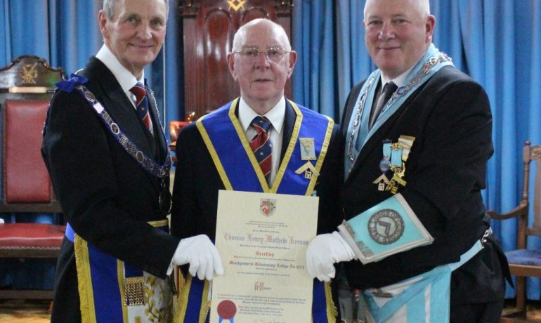 To Celebrate 60 Years in Freemasonry, WBro Thomas H M Keenan PProvAGSwdB