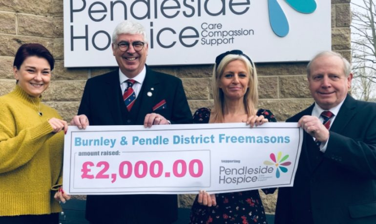 Burnley and Pendle District Freemasons support Pendleside Hospice.