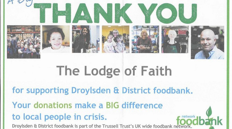 Lodge of Faith No. 581 Foodbank Donations