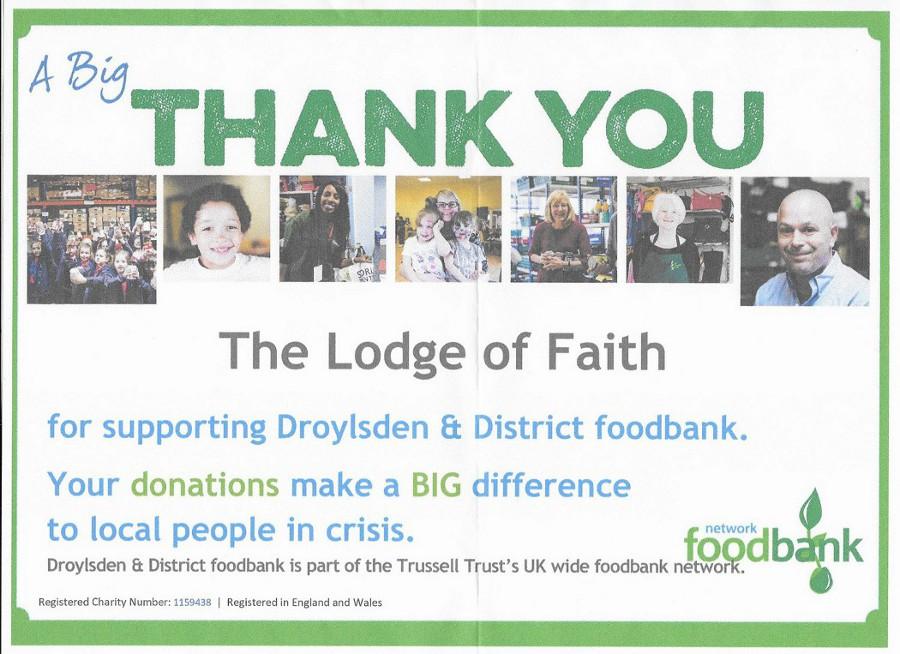 Lodge of Faith No. 581 Foodbank Donations